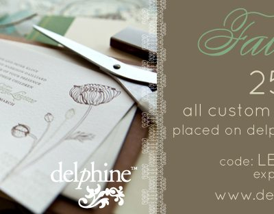 Delphine Fall Sale – 25% Off Letterpress Invitations thumbnail