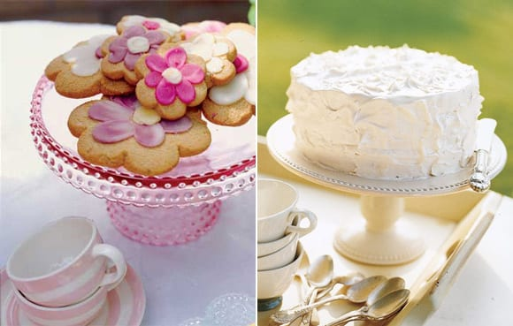 vintagecakestands A simple cake or little frosted sugar cookies look so