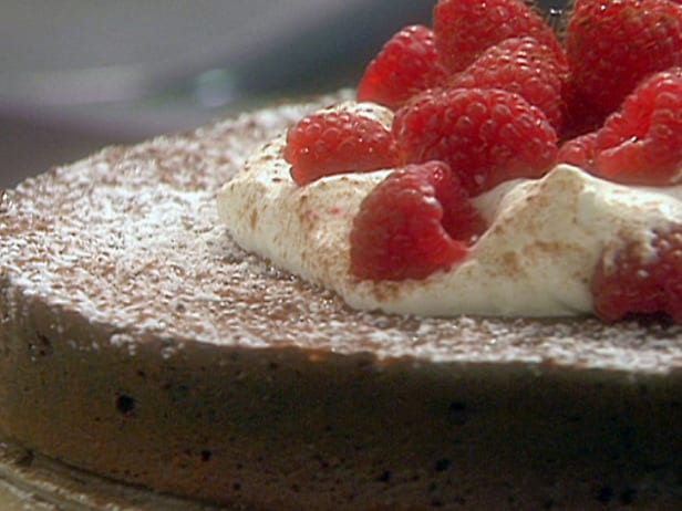Flourless chocolate torte from Food Network .}