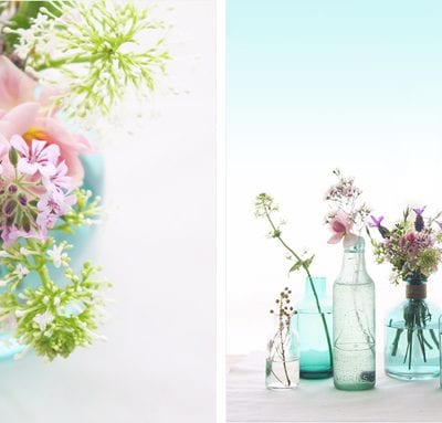 Lovely Flowers in Blue Vintage Bottles from Eat Drink Chic thumbnail