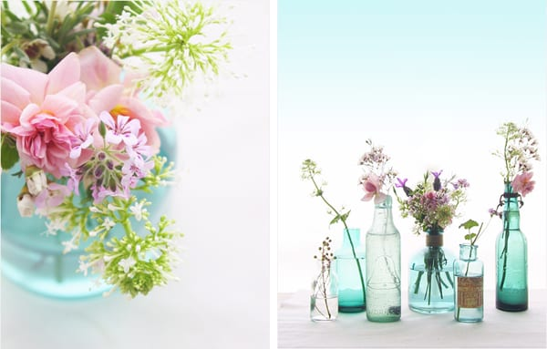 Lovely Flowers in Blue Vintage Bottles from Eat Drink Chic The Sweetest
