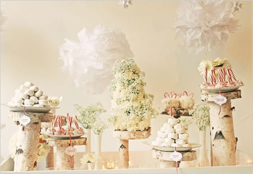 winter white candy tables at weddings