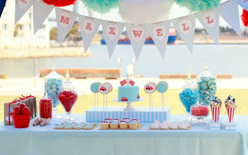 Red and blue first birthday party the sweetest occasion for Baby first birthday decoration ideas