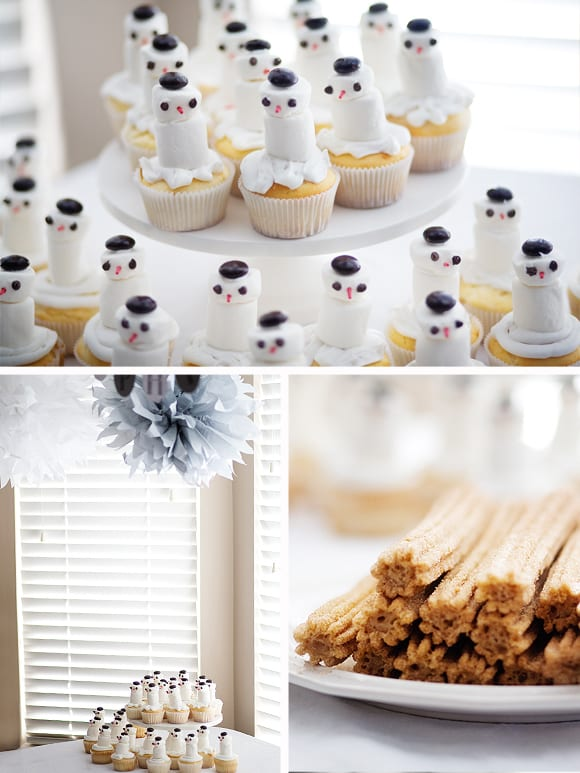 birthday-party-snowman-cucpakes-churros-hot-cocoa