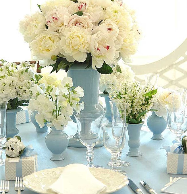 Blue White Peonies Lily Of The Valley Centerpieces Table Settings