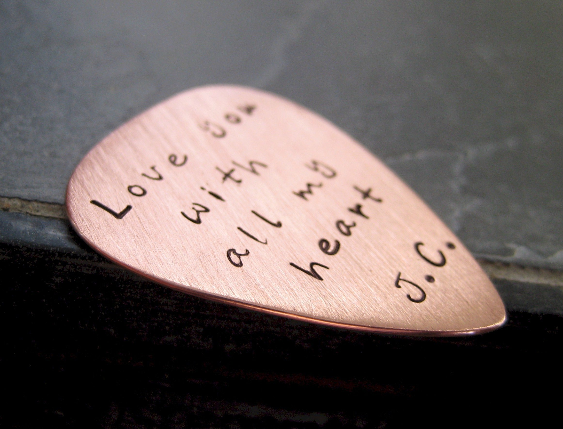Thesweetestoccasion Wp Content Uploads 2010 01 Custom Engraved Copper Guitar Pick Wedding Date