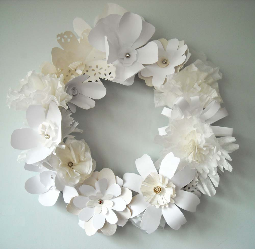 Small paper flowers craft - Diy White Paper Flower Wreath View More From Diy White Paper Flower