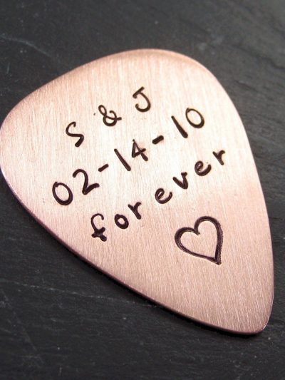Hand Stamped Copper Guitar Pick thumbnail