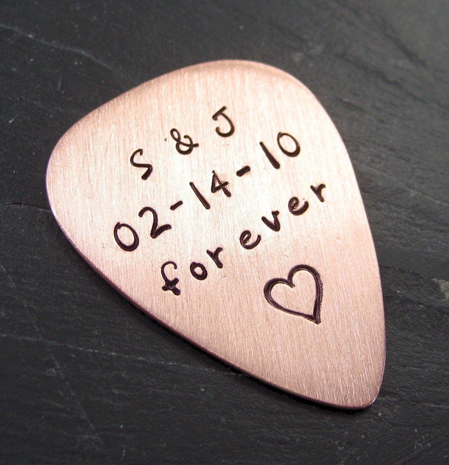 hand stamped copper guitar pick the sweetest occasion