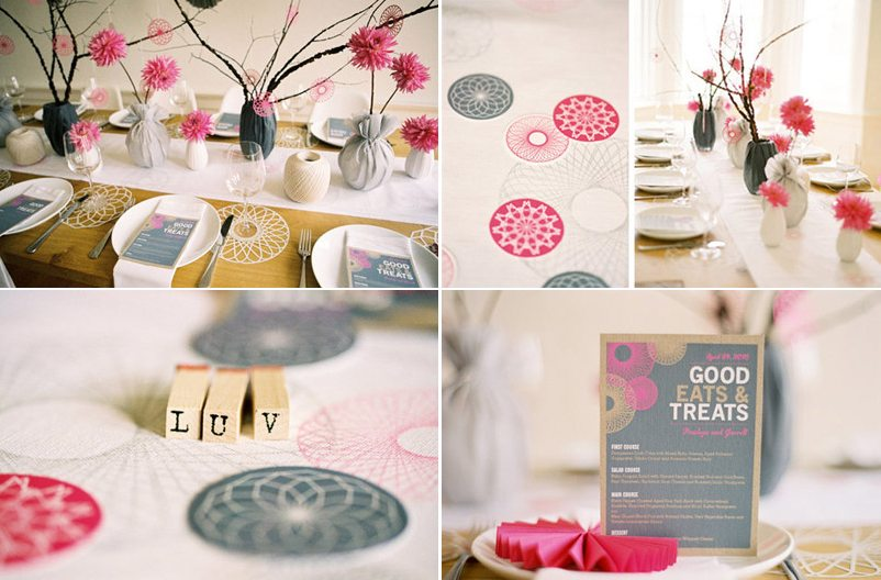 Pink + Grey Wedding Decor Suggestions :  wedding Pink Gray Wedding Inspiration Spirograph Once Wed Design Sponge