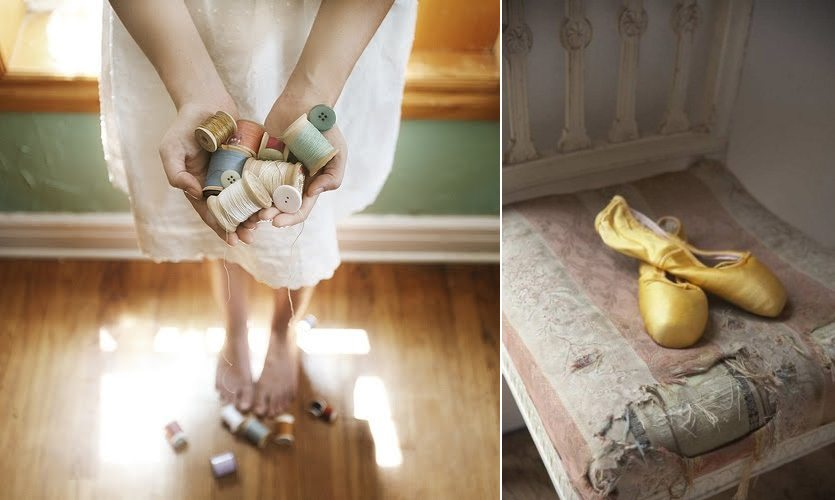 inspiring images vintage thread and yellow pointe shoes
