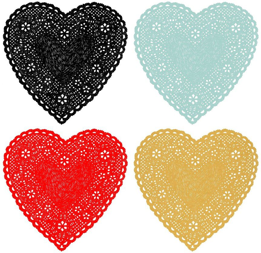 black red blue tan doily heart art print