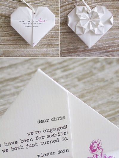 DIY Origami Heart Engagement Party Invitations thumbnail