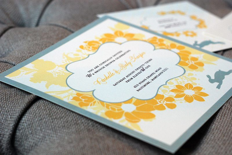 Gray And Yellow Baby Shower Invitations Part - 49: Gray-yellow-custom-baby-shower-invitations