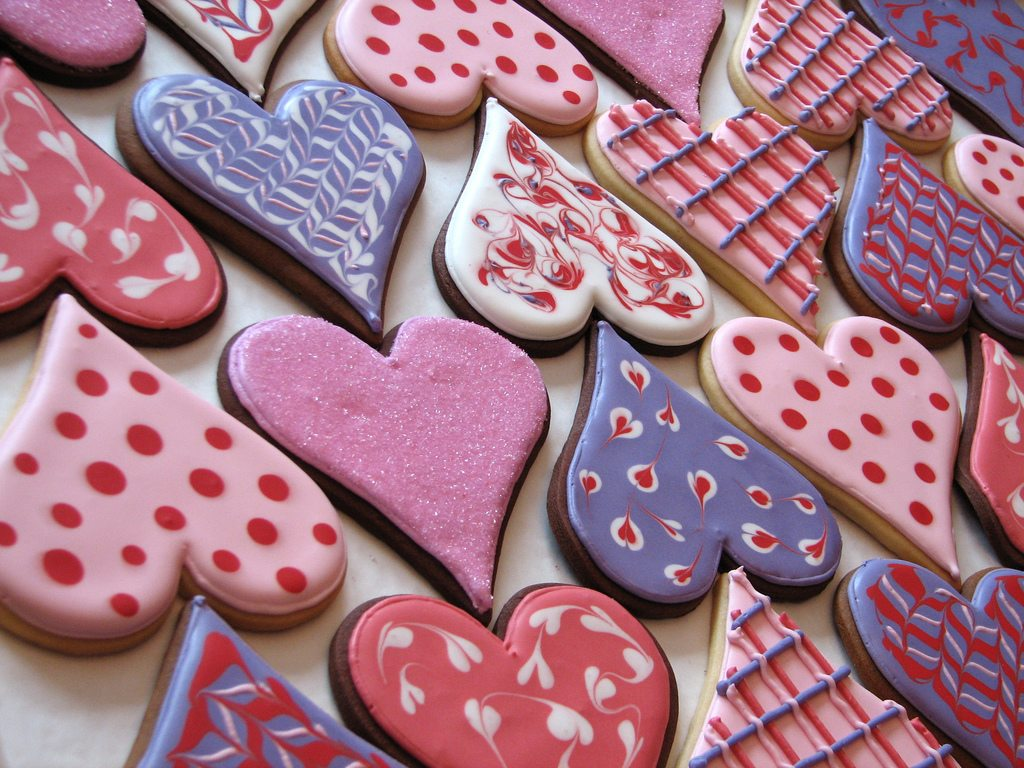 Pink Purple Red Heart Shaped Valentines Day Sugar Cookies