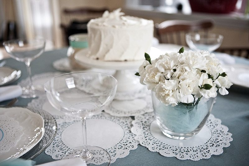 white wedding table settings. I love how it added a pretty