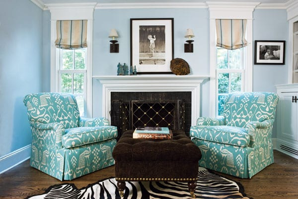 The luxe lifestyle beach glass inspiration light blue for Patterned living room chair