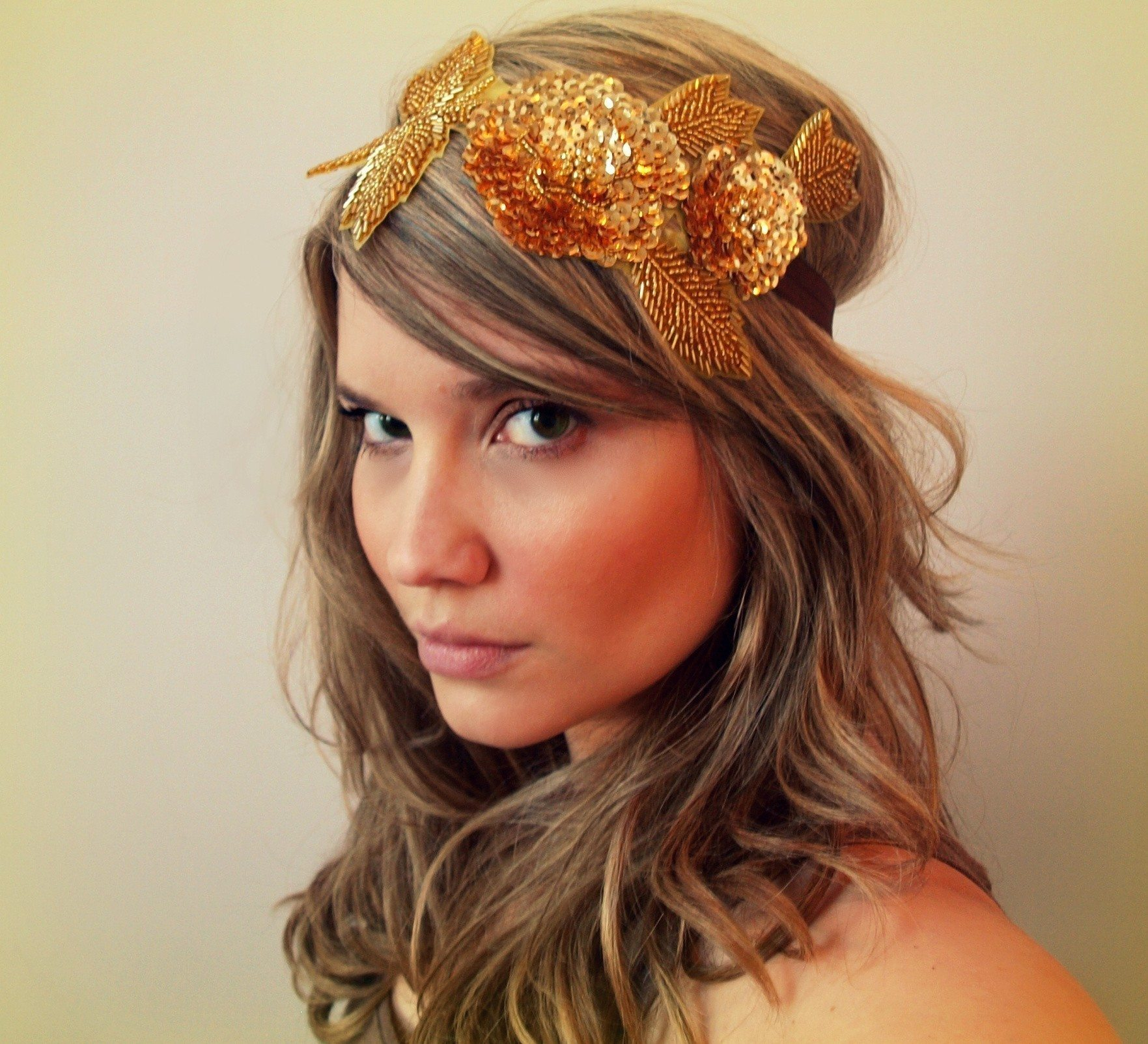 gold-copper-sequin-beaded-leaf-headband - the sweetest occasion