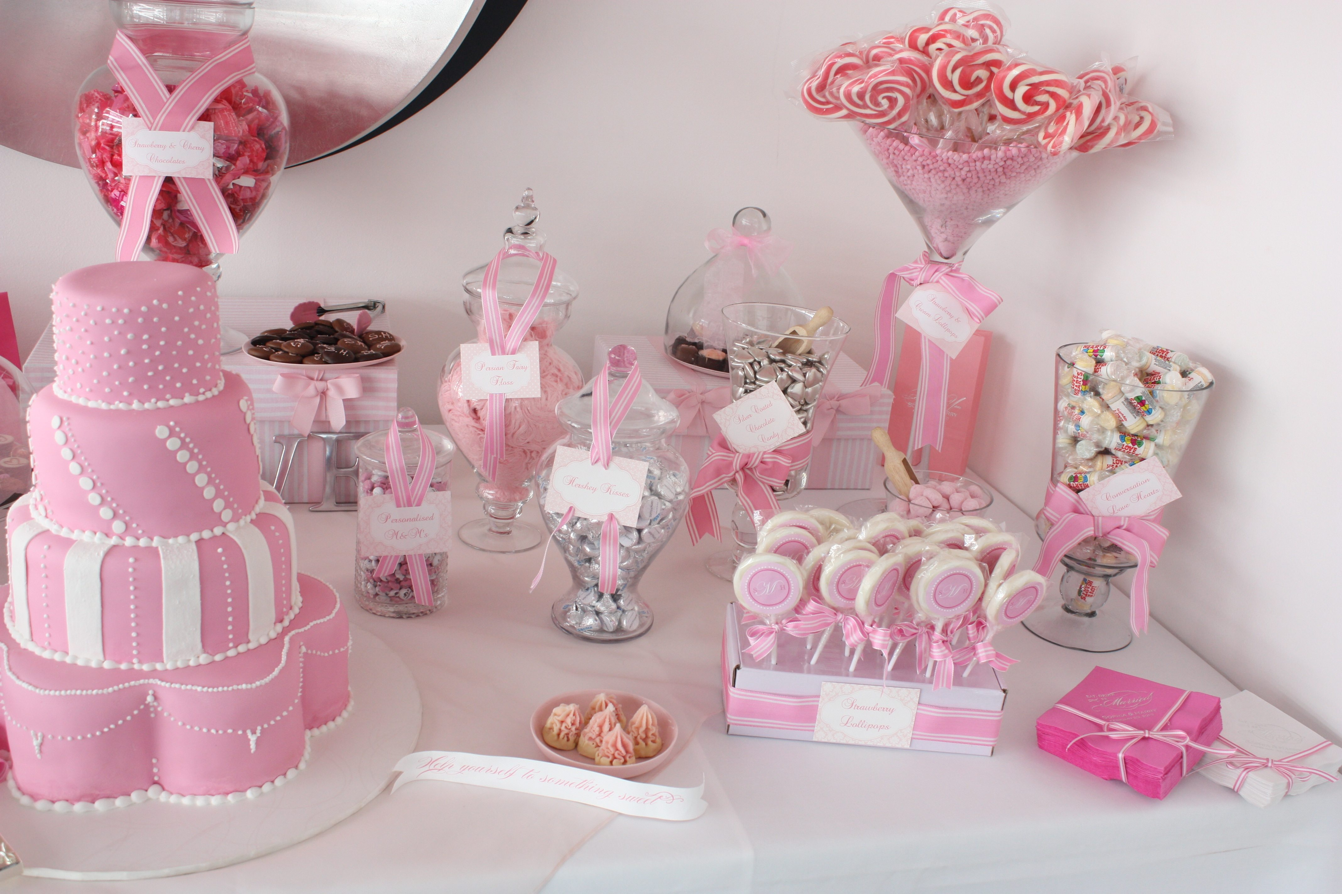 Pink White Wedding Ideas Candy Buffet Cake