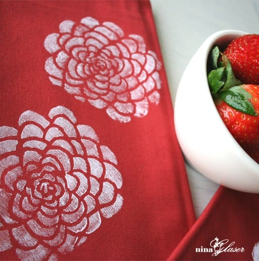 red-white-block-printed-floral-tea-towel