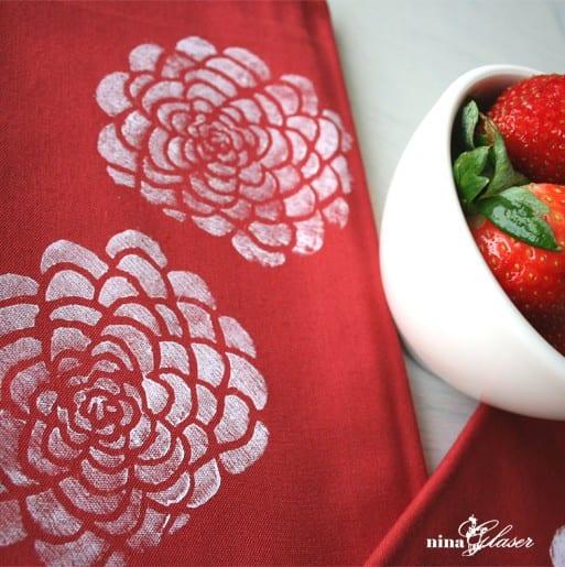 red-white-block-printed-floral-tea-towel