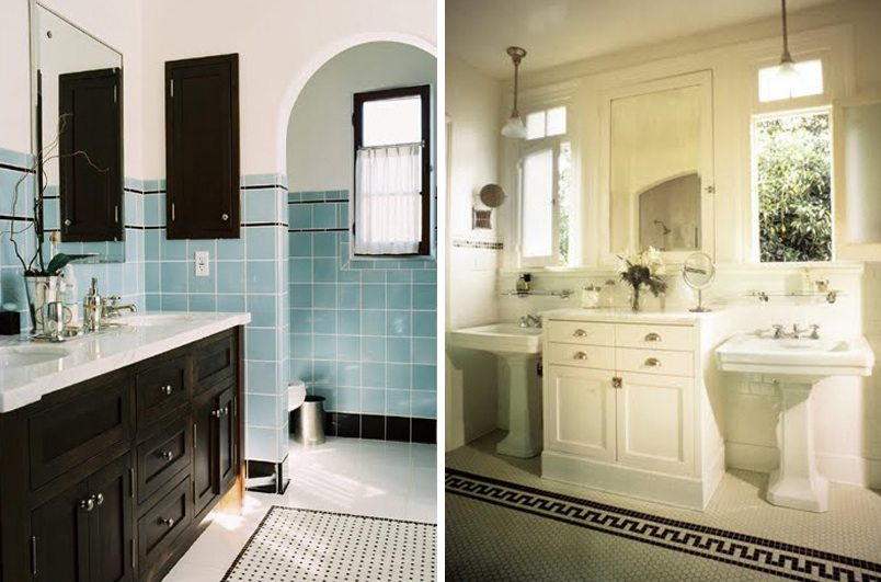 Bathroom remodel on pinterest hex tile tile and subway for Retro bathroom designs