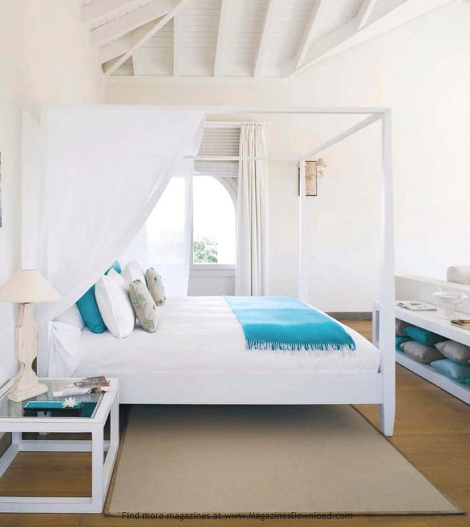 beach house bedrooms. white turquoise bedroom canopy bed beach house  The