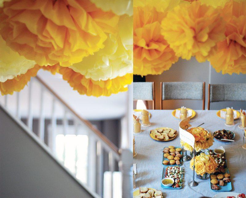 Yellow gray wedding party decor yellow tissue paper pom poms the yellow gray wedding party decor yellow tissue paper pom poms junglespirit Images