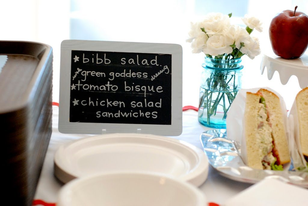 school themed baby shower cafeteria lunch menu