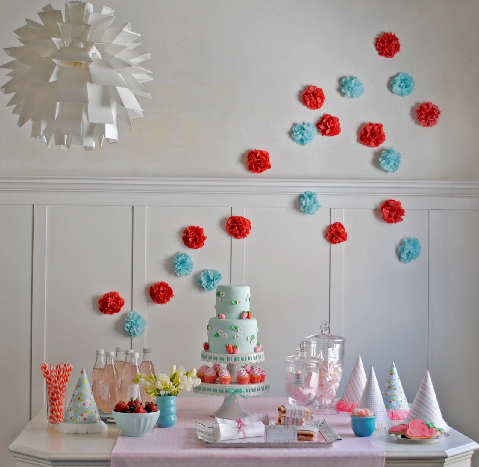 Pink and blue strawberry birthday party the sweetest - Red white and blue party ideas ...