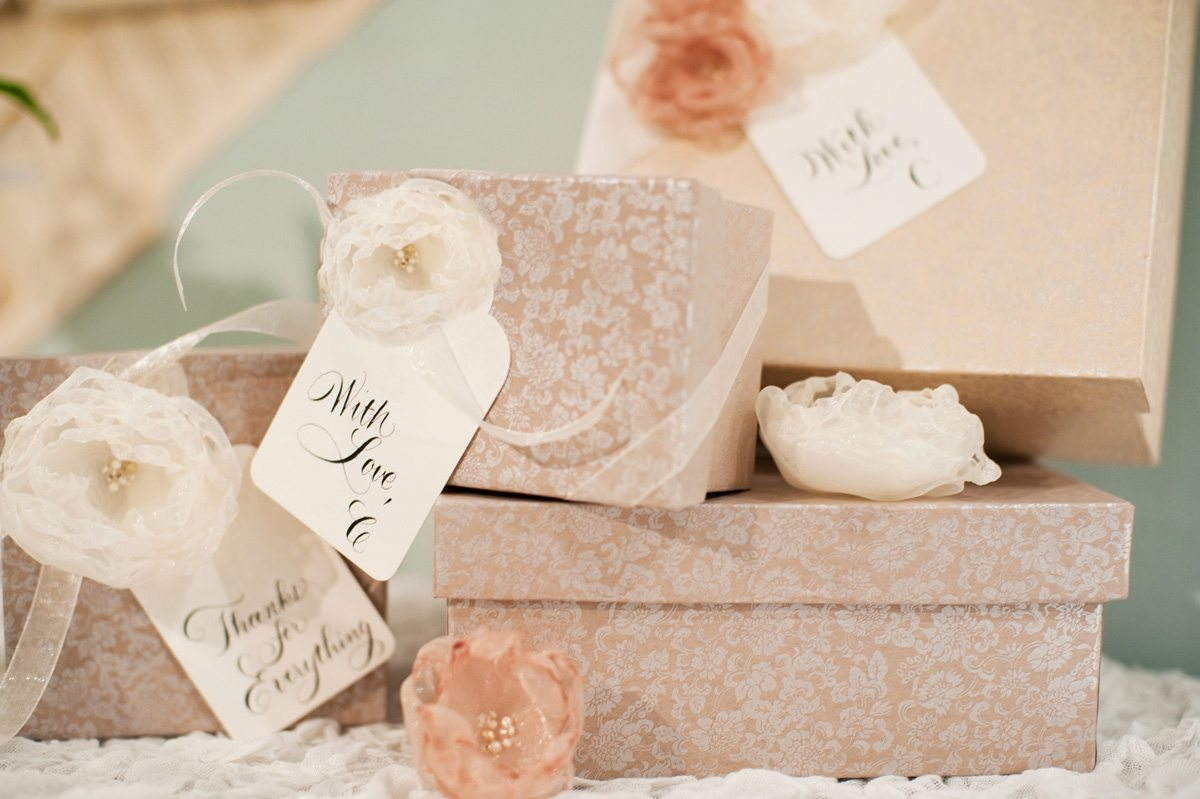 Wedding Gift Ideas From Bridesmaid To Bride : decoupage-boxes-organza-flowers-bridesmaid-gift-ideas