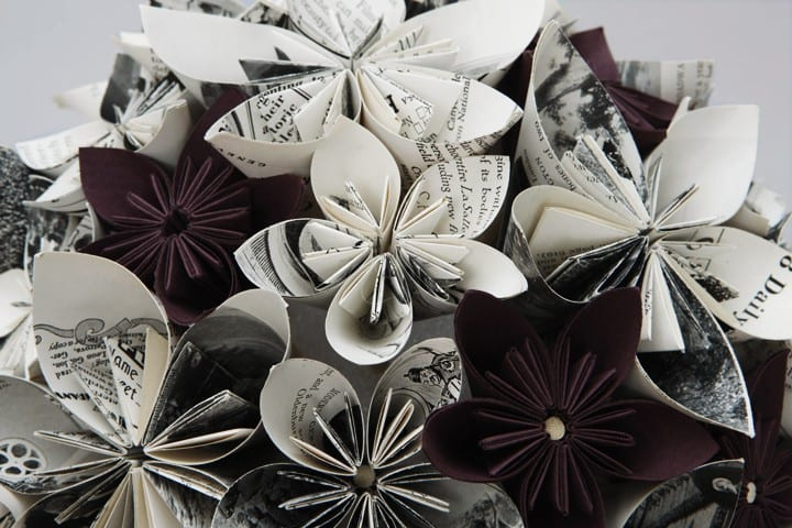 Flowers Made From Old Books And Paper