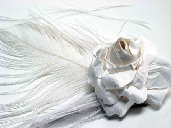 paper-flower-wrist-corsage-white-feather