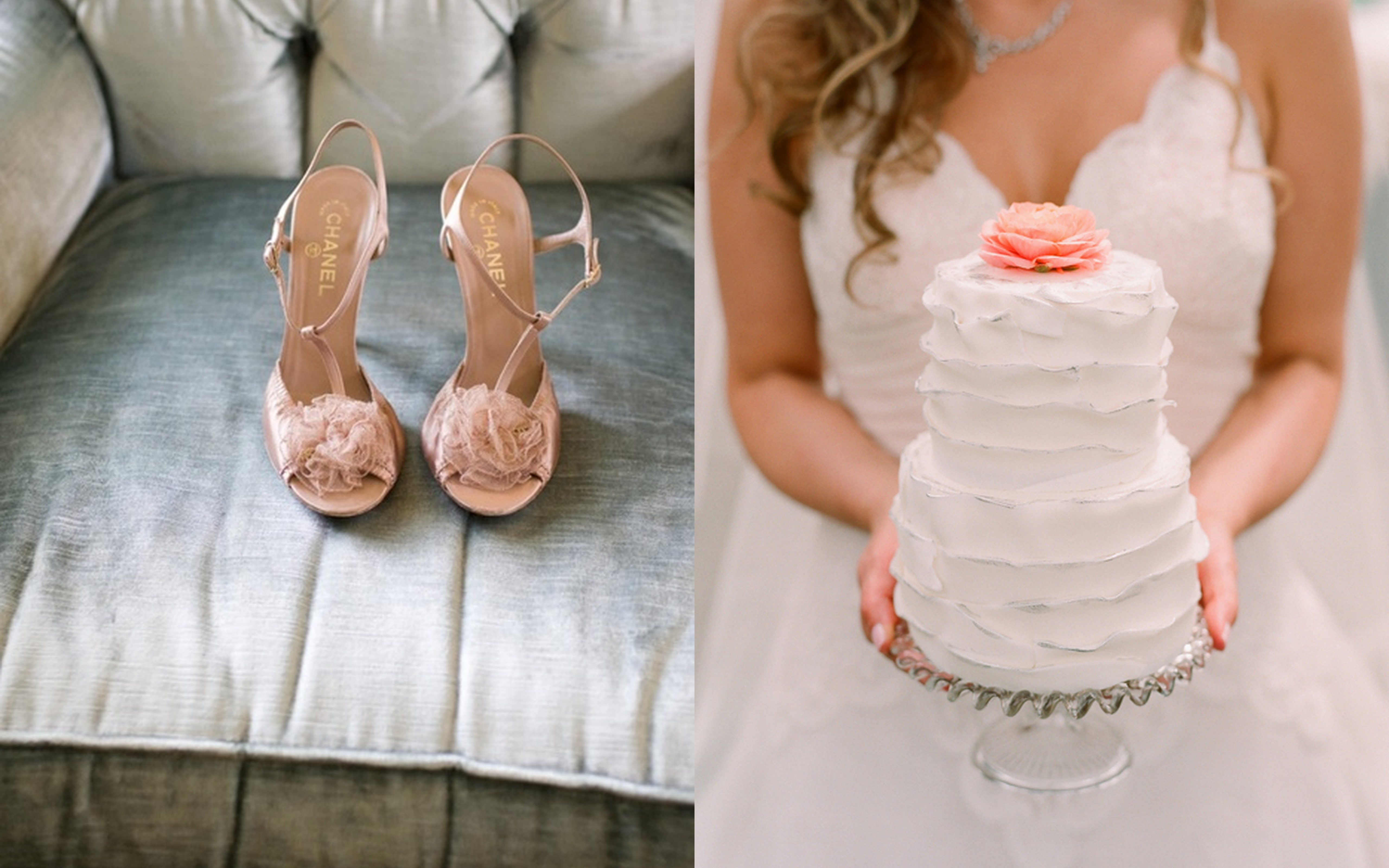 Peach Gray Wedding Color Palette Flower Cake Topper