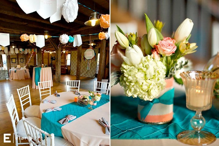 Peach White Teal Wedding Colors Centerpiece Ideas