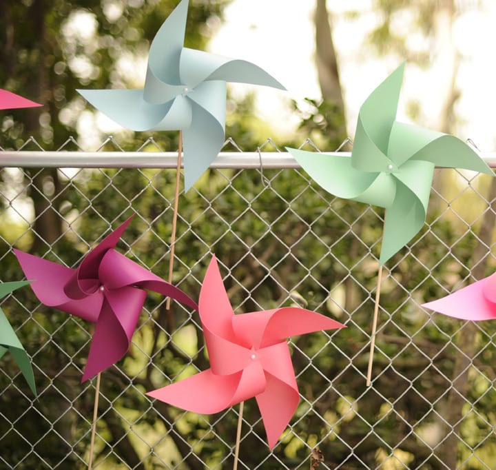 pink green blue purple paper pinwheels girly birthday. Black Bedroom Furniture Sets. Home Design Ideas