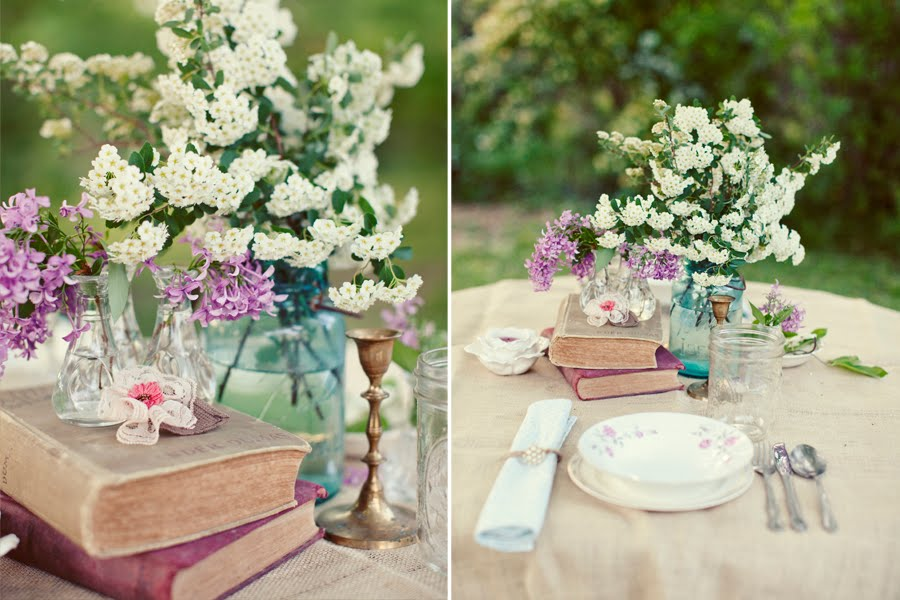 Wedding Table Setting Ideas Vintage Books Blue Mason Jar Centerpieces White Flowers