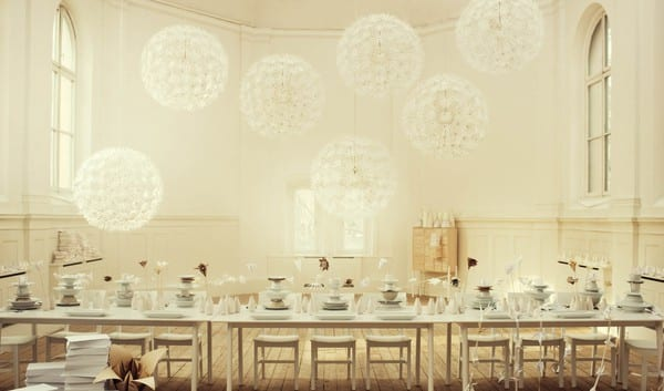 White Ivory Linen Origami Paper Flowers Table Setting Ideas The