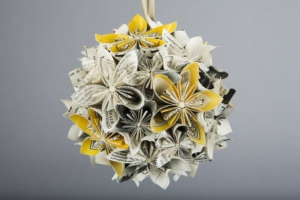 A bicycle built for two how to fold paper flowers yellow gray newspaper paper flowers pomander mightylinksfo Choice Image
