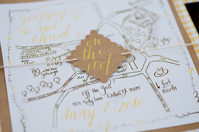 Map Wedding Invitation Kraft Paper And Yellow Calligraphy