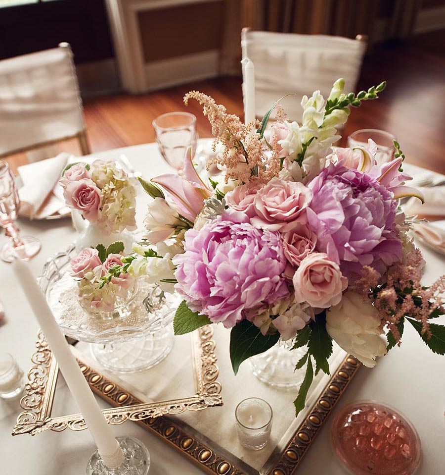 Inspired creations romantic pink wedding inspiration for Floral table decorations for weddings