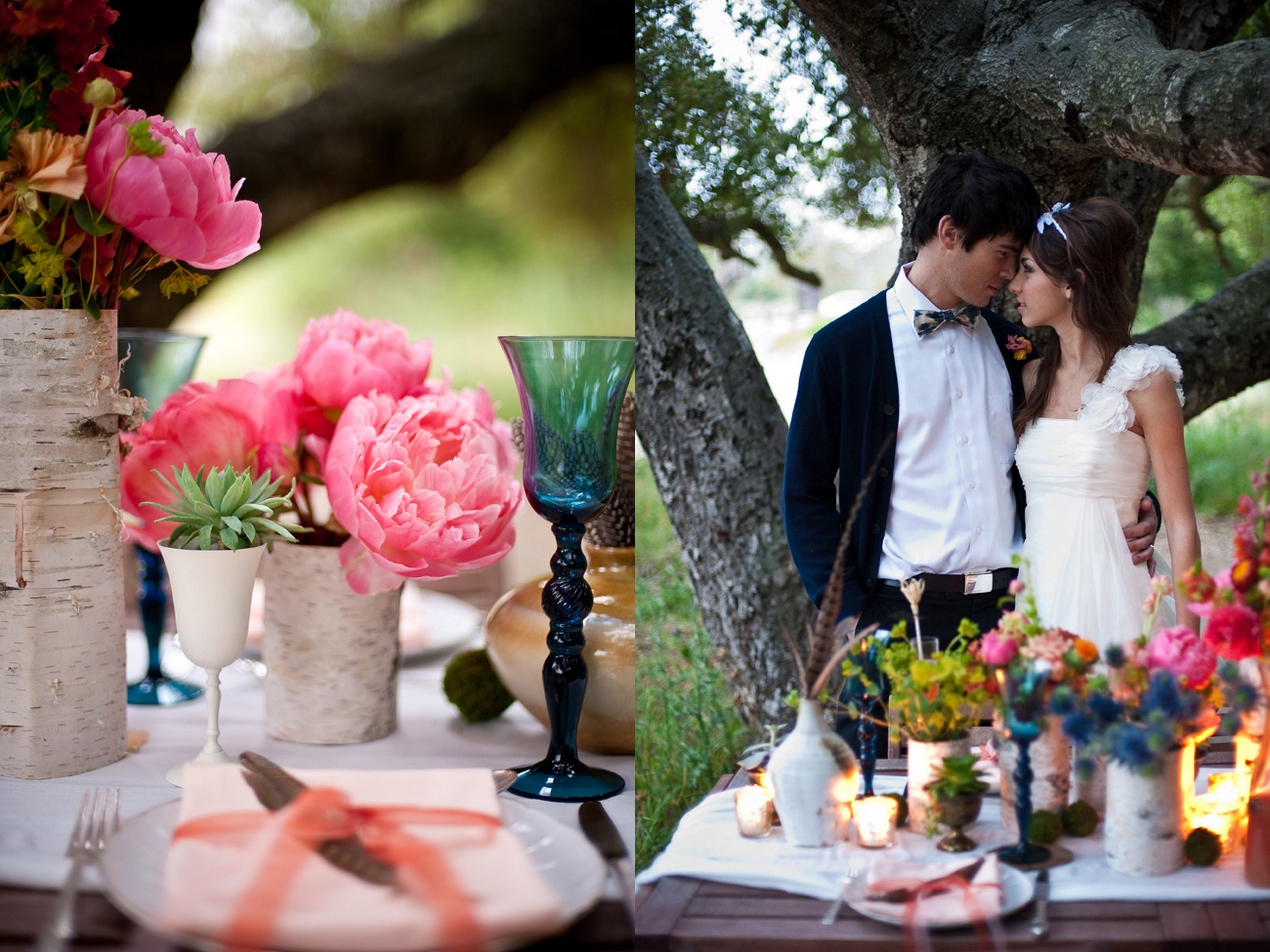 Purple Bohemian Wedding Al Fresco Wedding Reception California Boho