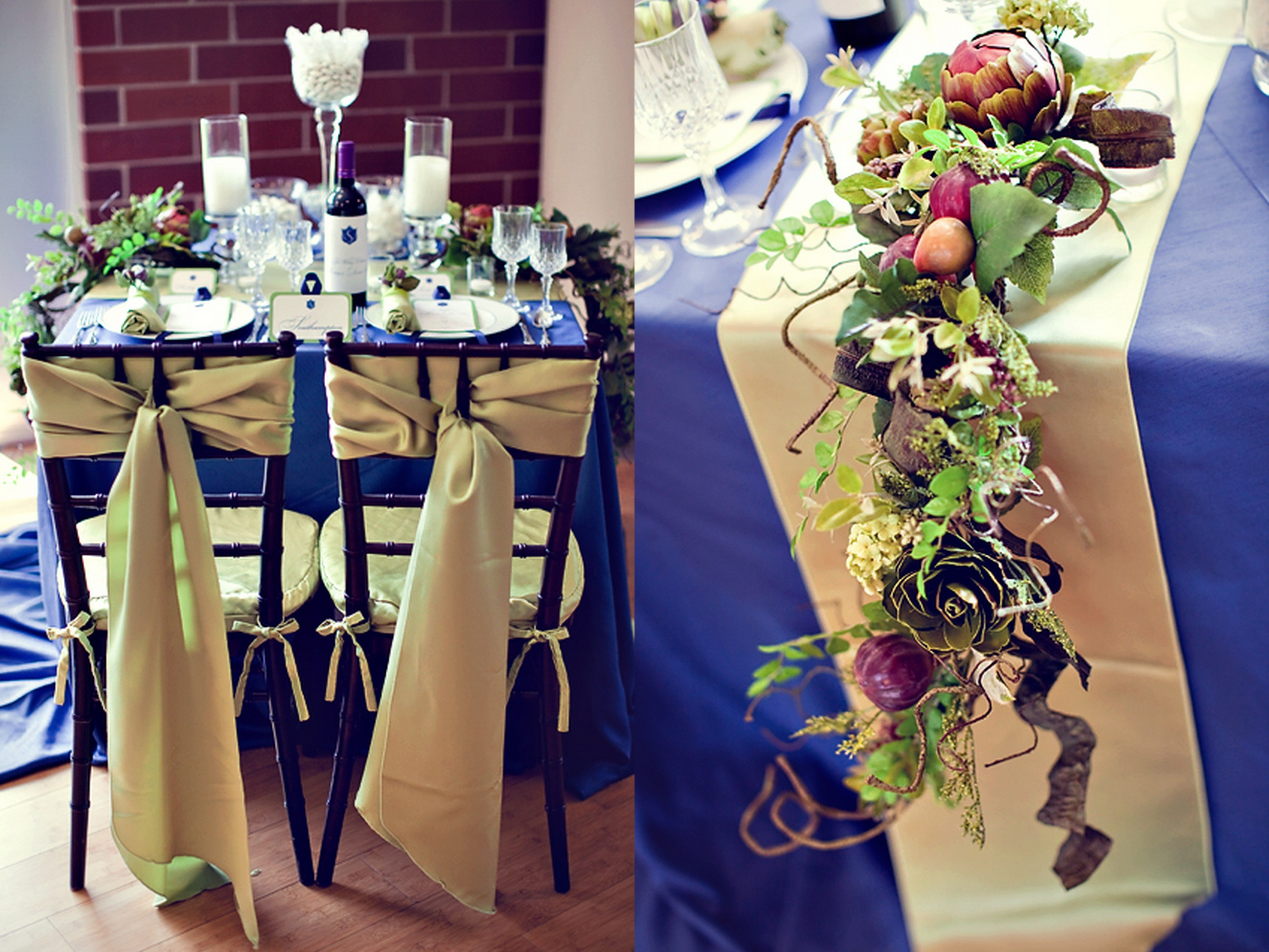 Royal Blue And Gold Table Decorations Photograph | blue-gold