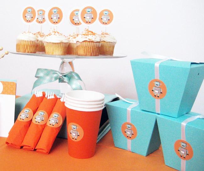 blue orange robot theme birthday party printables the sweetest