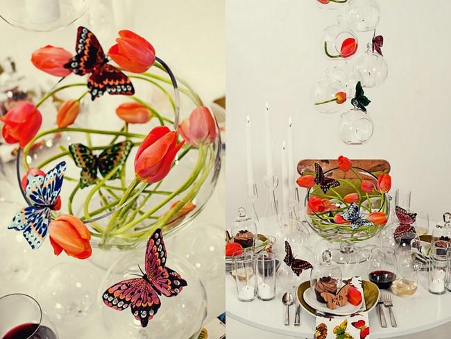 butterflytulipcenterpiecespurpleorangewedding We were so inspired by