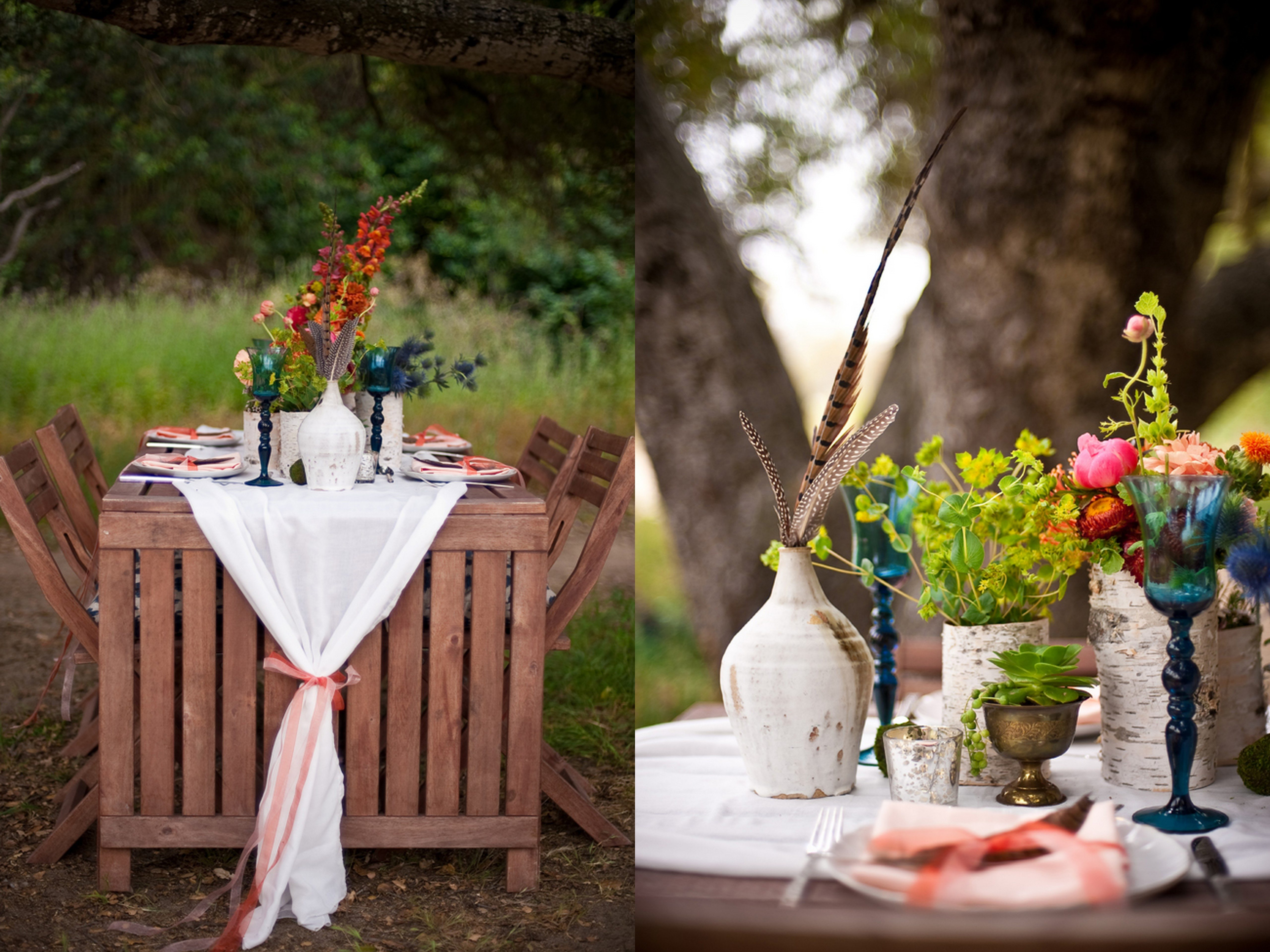 Inspired creations al fresco california bohemian wedding for Outdoor table decor ideas