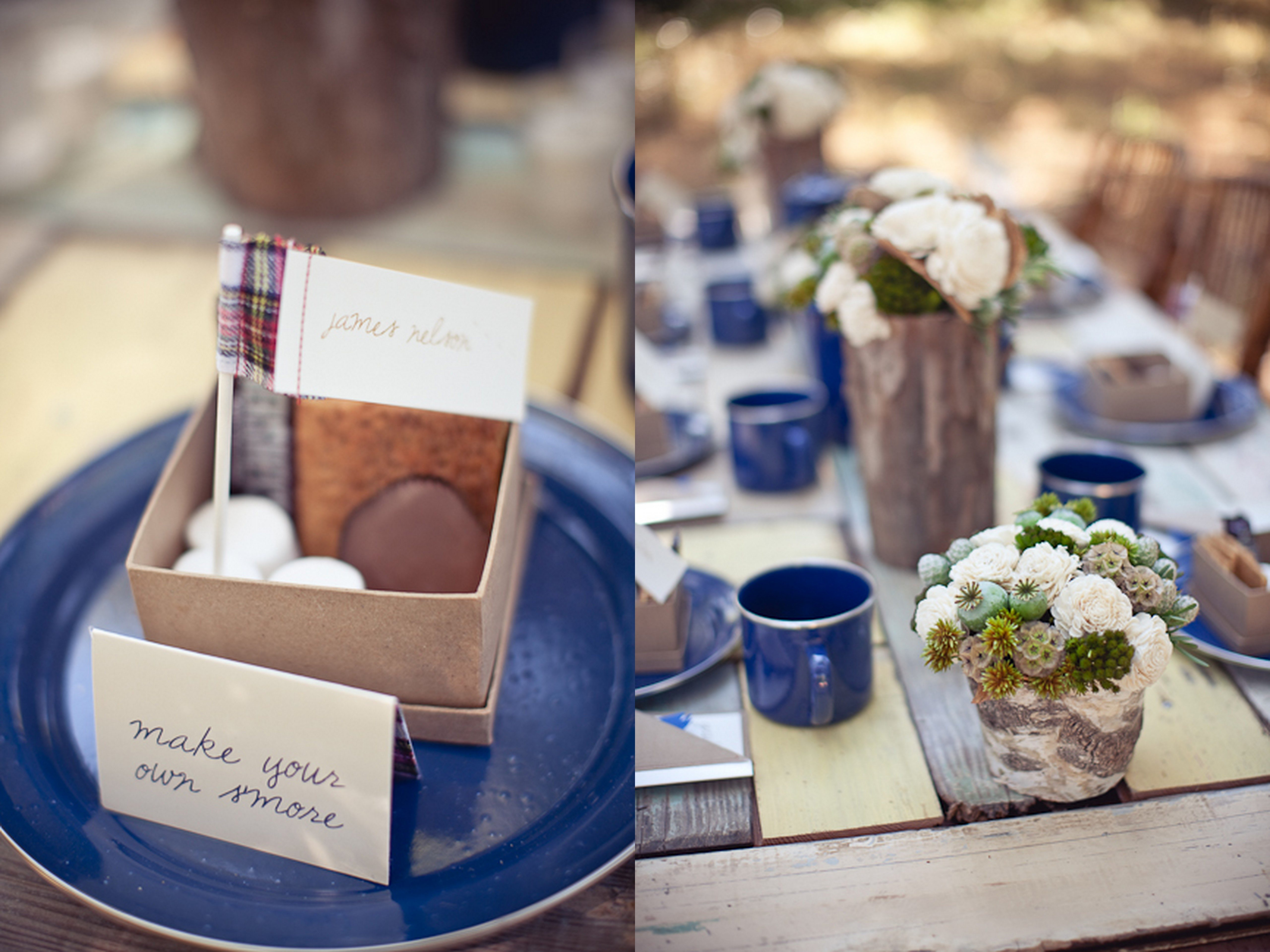 Camping Themed Rustic Outdoor Wedding Make Your Own Smores Favors