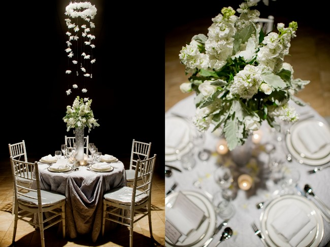 Cascading petals white green centerpieces The Sweetest