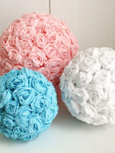 DIY Crepe Paper Flower Pomanders thumbnail