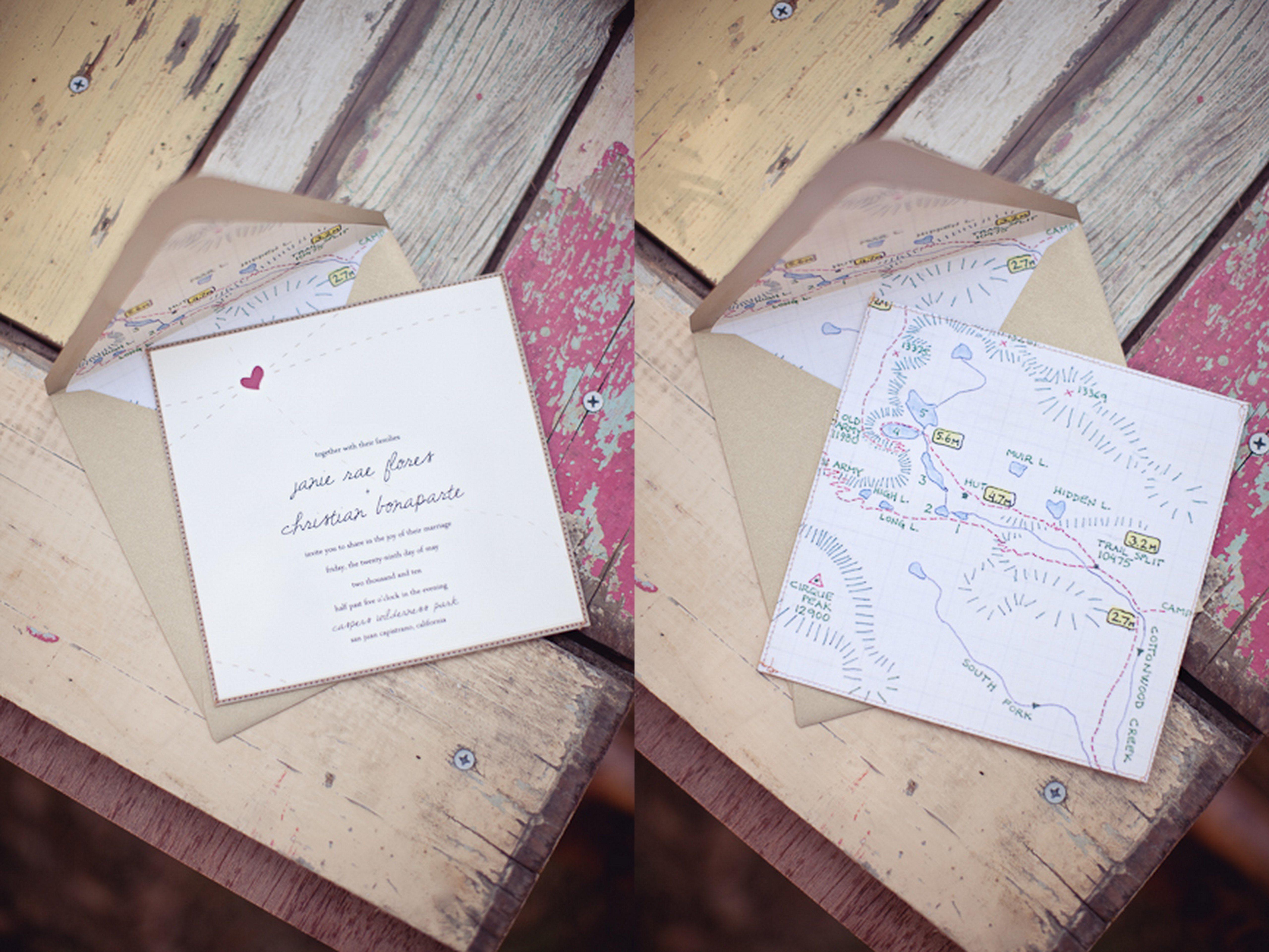 Diy Fabric Wedding Invitations Custom Trail Map